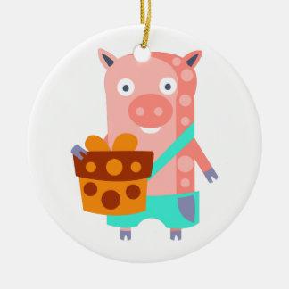 Ornement Rond En Céramique Le porc avec la partie attribue génial stylisé