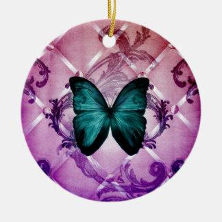 Ornement Rond En Céramique Le pourpre de Flourish tourbillonne papillon