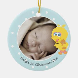 Ornement Rond En Céramique Le premier Noël du grand bébé de l'oiseau | -