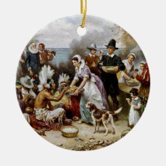 Ornement Rond En Céramique Le premier thanksgiving