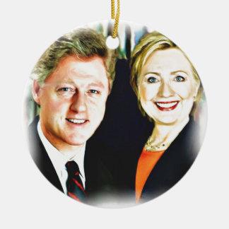 Ornement Rond En Céramique Le Président Bill Clinton et le Président Hillary