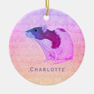 Ornement Rond En Céramique Le rat rose d'animal familier ajoutent votre rat