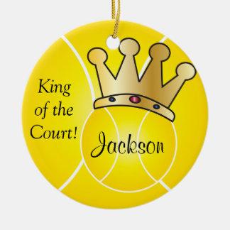 Ornement Rond En Céramique Le roi jaune de la balle de tennis | de la cour