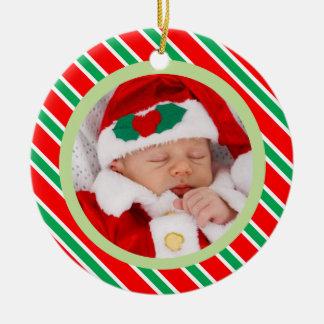 Ornement Rond En Céramique Le sucre de canne de Noël barre la photo de bébé