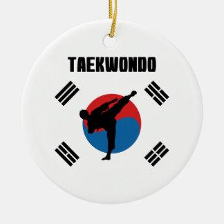 Ornement Rond En Céramique Le Taekwondo