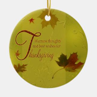 Ornement Rond En Céramique Le thanksgiving souhaite le feuille de typographie