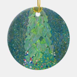 Ornement Rond En Céramique Le tournesol par Klimt, cru fleurit l'art Nouveau