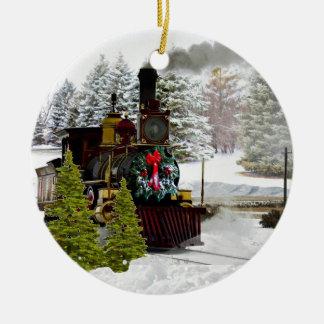 Ornement Rond En Céramique Le train de Noël vient à l'ornement de ville