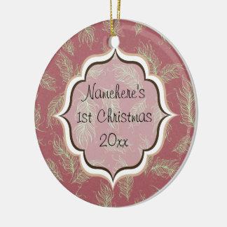 Ornement Rond En Céramique Le vert fait varier le pas de Noël rouge de