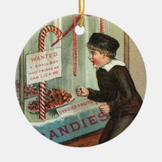 Ornement Rond En Céramique Léchez-moi plaisanterie vintage de Noël d'humour