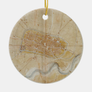 Ornement Rond En Céramique Leonardo da Vinci - plan de la peinture d'Imola