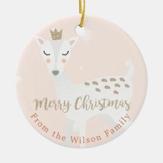 Ornement Rond En Céramique Les cerfs communs mignons | rougissent Noël