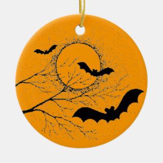 Ornement Rond En Céramique Les chauve-souris d'Halloween -