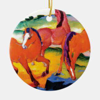 Ornement Rond En Céramique Les chevaux rouges par Franz Marc