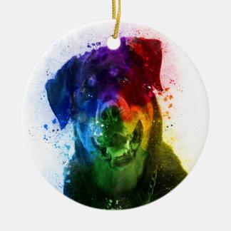 Ornement Rond En Céramique Les couleurs de l'amour sont un rottweiler