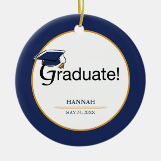 Ornement Rond En Céramique Les félicitations reçoivent un diplôme, casquette,