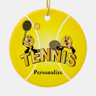 Ornement Rond En Céramique Les joueurs idiots de balle de tennis |