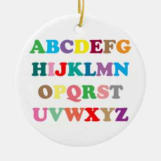 Ornement Rond En Céramique Les lettres colorées d'ABC