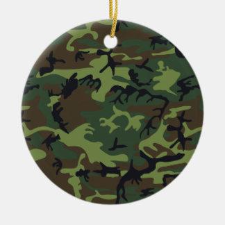Ornement Rond En Céramique Les militaires verts de forêt camouflent le motif