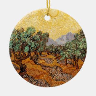 Ornement Rond En Céramique Les oliviers de Vincent Van Gogh (Olives trees)