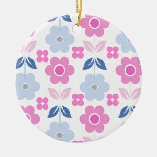 Ornement Rond En Céramique Les rétros fleurs roses de /Blue Dble-ont dégrossi