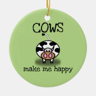 Ornement Rond En Céramique Les vaches me rendent heureux