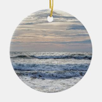 Ornement Rond En Céramique Lever de soleil de Virginia Beach