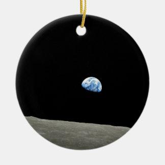 Ornement Rond En Céramique Lever de Terre sur la Lune