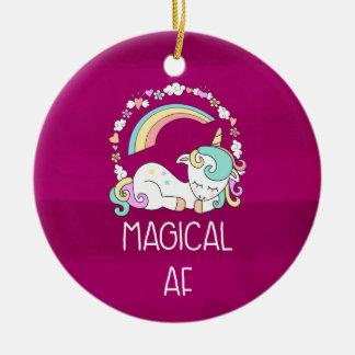 Ornement Rond En Céramique Licorne drôle indiquant l'AF magique