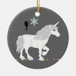 Ornement Rond En Céramique Licorne, fée et arbre de Noël personnalisés