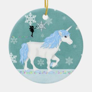 Ornement Rond En Céramique Licorne personnalisée et fée bleues et blanches