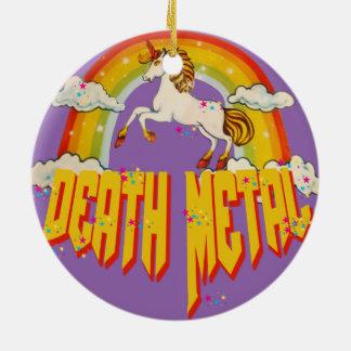 Ornement Rond En Céramique Licornes de métal de la mort