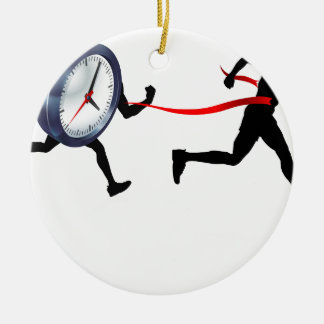 Ornement Rond En Céramique Ligne d'arrivée d'horloge concept d'homme de