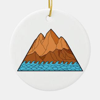 Ornement Rond En Céramique Ligne mono en lambeaux de vagues de montagne