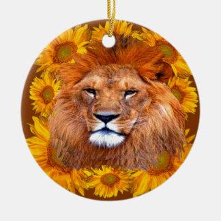 Ornement Rond En Céramique lion africain fauve et cadeaux jaunes de
