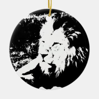 Ornement Rond En Céramique Lion en noir et blanc