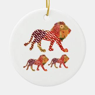 Ornement Rond En Céramique LION - ROI majestueux des animaux
