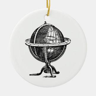 Ornement Rond En Céramique Lithographie vintage de globe du monde dessinant