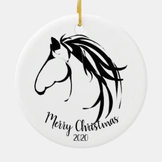 Ornement Rond En Céramique Logo classique de tête de cheval de Noël daté de