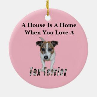 Ornement Rond En Céramique Logo d'amour de Fox Terrier et de Fox Terrier,