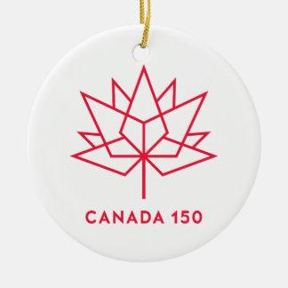 Ornement Rond En Céramique Logo de fonctionnaire du Canada 150 - contour