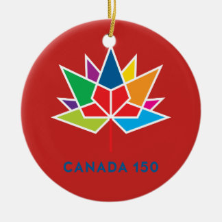 Ornement Rond En Céramique Logo de fonctionnaire du Canada 150 - multicolore