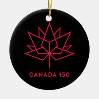 Ornement Rond En Céramique Logo de fonctionnaire du Canada 150 - noir et