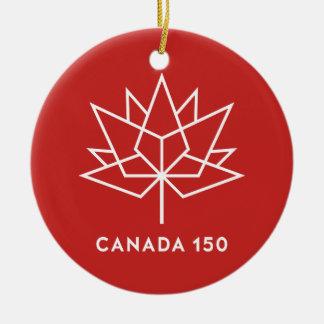 Ornement Rond En Céramique Logo de fonctionnaire du Canada 150 - rouge et