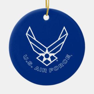 Ornement Rond En Céramique Logo de l'Armée de l'Air - bleu