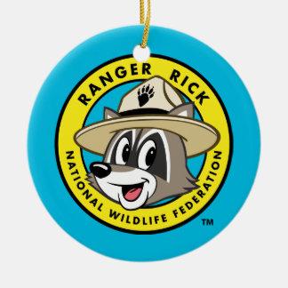 Ornement Rond En Céramique Logo de Rick de garde forestière de Rick   de
