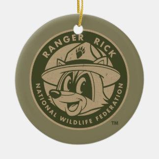 Ornement Rond En Céramique Logo kaki de Rick de garde forestière de Rick   de