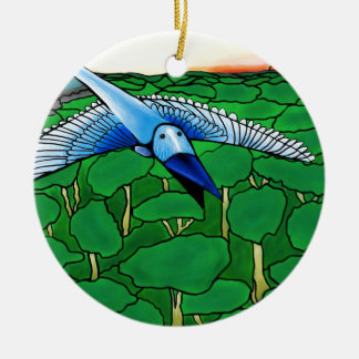 Ornement Rond En Céramique l'oiseau bleu
