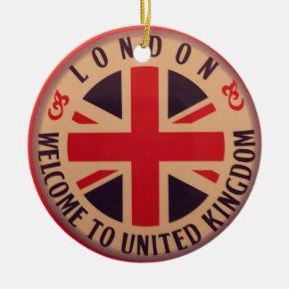 Ornement Rond En Céramique Londres - Union Jack - accueil vers le Royaume-Uni