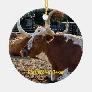 Ornement Rond En Céramique Longhorns de Fort Worth le Texas